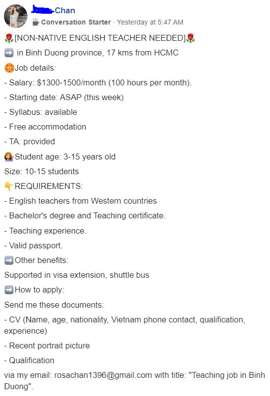 English Teaching job for non native english speakers in Vietnam